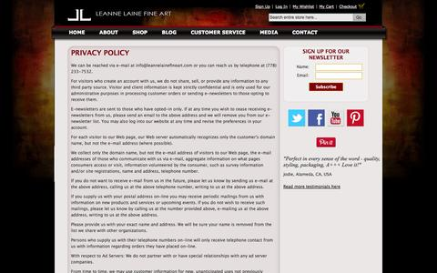 Screenshot of Privacy Page leannelainefineart.com - Privacy Policy - captured Oct. 1, 2014