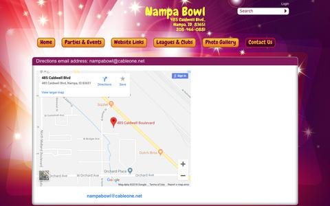 Screenshot of Contact Page Maps & Directions Page nampabowl.com - Nampa Bowl > Contact Us > Directions - captured Oct. 30, 2018