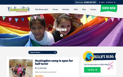 Screenshot of Press Page barracudas.co.uk - News | Barracudas Activity Day Camps - captured Nov. 8, 2018