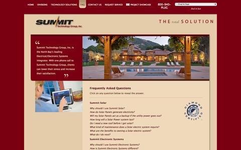 Screenshot of FAQ Page summit-e.com - FAQ's about Summit Technology Group, Inc : Residential and Commercial electronic systems, Electric and Electrical - captured Oct. 7, 2014