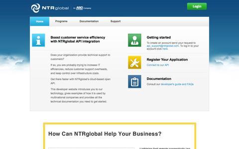 Screenshot of Developers Page ntrglobal.com - Developer Microsite - Home   NTRglobal - captured Sept. 16, 2014