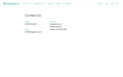 Screenshot of Contact Page babygooroo.com - Contact | baby gooroo - captured Jan. 12, 2017