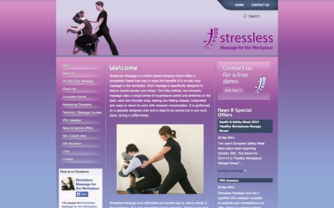 Screenshot of Home Page stressless.ie - Stressless | Massage for the workplace & corporate events - captured Oct. 9, 2014