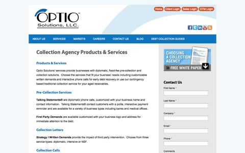 Screenshot of Services Page optiosolutions.com - Collection Agency Products & Services | Optio Solutions - captured Oct. 26, 2014