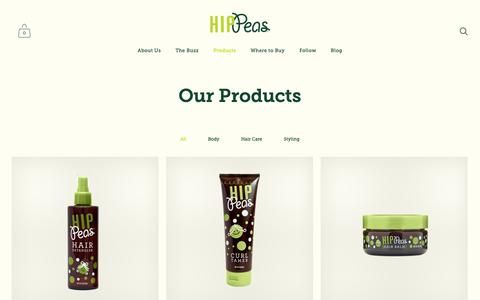 Screenshot of Products Page hip-peas.com - Products — Hip Peas Natural Kids Care - captured Sept. 29, 2018