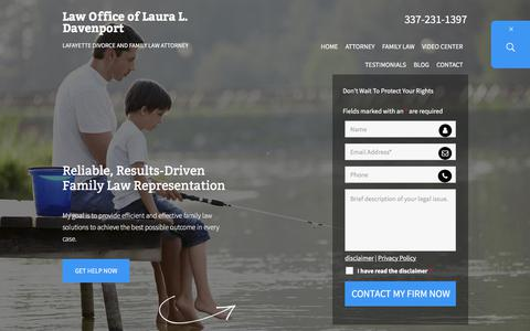 Screenshot of Home Page ldavenportlaw.com - Lafayette Divorce And Family Law Attorney | Lafayette Father's Rights Lawyer | Abbeville LA Child Custody Attorney - captured Aug. 15, 2019