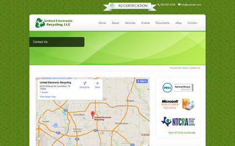 Screenshot of Contact Page unitedelectronicrecycling.com - Contact Us - United Electronic Recycling - captured Feb. 23, 2016