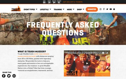Screenshot of FAQ Page toughmudder.com - Tough Mudder Tips and FAQs | Tough Mudder - captured Jan. 19, 2019