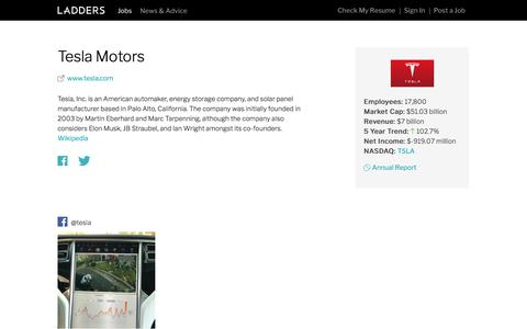 Jobs at Tesla Motors | Ladders