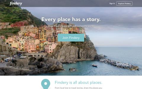 Screenshot of Home Page findery.com - Findery Ľ The treasure map of your life - captured Nov. 3, 2015