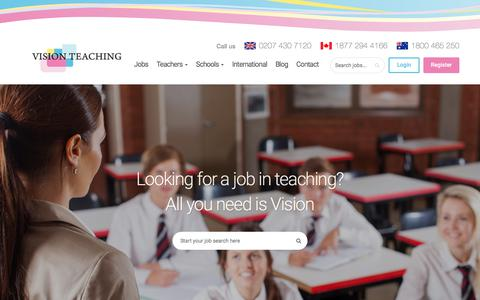 Screenshot of Home Page visionteaching.co.uk - Vision Teaching Recruitment - Vision Teaching - captured June 13, 2017