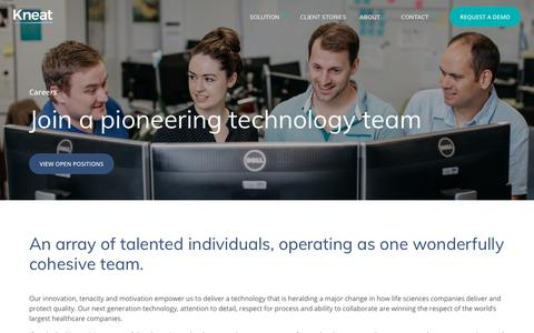 Screenshot of Jobs Page kneat.com - Careers | Software developers, Quality assurance | Kneat - captured Oct. 15, 2018