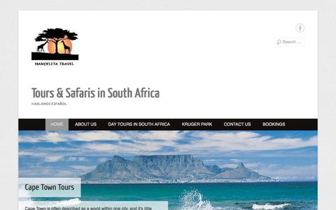 Screenshot of Home Page Menu Page mandelitatravel.com - Tours & Safaris in South Africa | HABLAMOS ESPAÑOL - captured Sept. 30, 2014