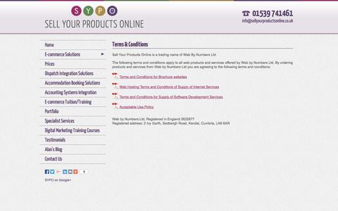 Screenshot of Terms Page sellyourproductsonline.co.uk - Terms & Conditions: E-commerce Solutions | E-commerce Websites | E-commerce Web Design | Sell Your Products Online - captured Oct. 26, 2014