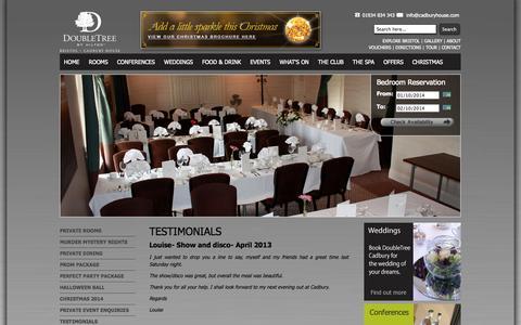 Screenshot of Testimonials Page cadburyhotelbristol.co.uk - Testimonials - captured Oct. 1, 2014