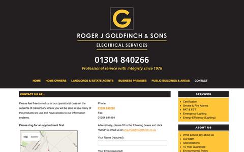 Screenshot of Contact Page rjgoldfinch.co.uk - Contact Us at 01304 840266 - Roger J Goldfinch & Sons - captured Feb. 15, 2016