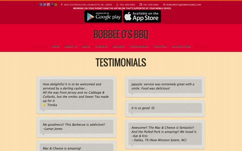 Screenshot of Testimonials Page bobbeeosbbq.com - What People Say About Bobbee O's BBQ - captured Jan. 6, 2016