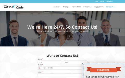 Screenshot of Contact Page omnicall.com - Contact Us | Call or Email Us at OmniCall Virtual Receptionist Services - captured Nov. 10, 2017