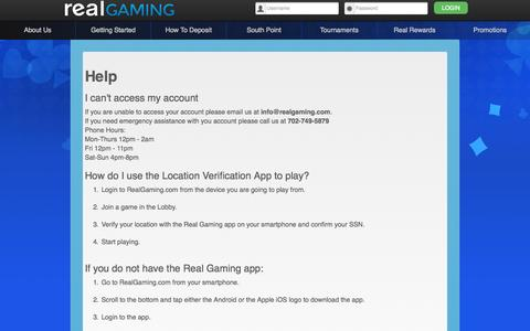 Screenshot of FAQ Page realgaming.com - Real Gaming -- Frequently Asked Questions - captured Oct. 26, 2014