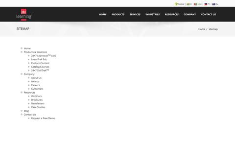 Screenshot of Site Map Page 24x7learning.com - sitemap - 24x7learning - captured Oct. 27, 2014