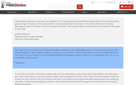 Screenshot of Testimonials Page cellularsolutions.com - Testimonials at Cellular Solutions - captured July 16, 2018