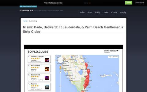 Screenshot of Maps & Directions Page straightalk.biz - Miami: Dade, Broward: Ft.Lauderdale, & Palm Beach Gentlemen's Strip Clubs South Florida Strip Clubs Stripper Management Agency Exotic Dancing Pole Lap Dancer Stripping Jobs - captured Oct. 3, 2014