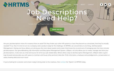 Screenshot of Home Page hrtms.com - HRTMS | Job Description Management Software - HRTMS | Job Description Management Software - captured July 10, 2016