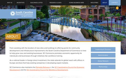 Screenshot of About Page sccommerce.com - About   South Carolina Department of Commerce - captured Oct. 23, 2017