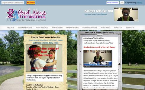 Screenshot of Home Page gnm.org - Good News Ministries - captured Oct. 2, 2014