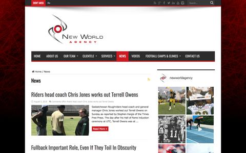 Screenshot of Press Page newworldagency.com - News Archives - New World Agency official website | New World Agency is a sports management firm that aims to provide elite athletes with unparalleled professional representation in North America's most competitive and lucrative sporting associations - captured Sept. 20, 2018