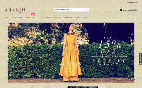 Screenshot of Home Page aharin.com - Buy Aharin India by Prasansha & Ashish pop up shop online - captured Sept. 10, 2015