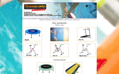 Screenshot of Products Page fitnessoccasion.net - idrobike made in Italy, aqua jump, wellbed, aqua treadmill, stage - captured Oct. 5, 2014