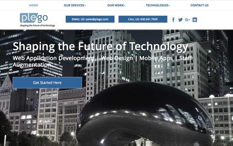 Screenshot of Home Page plego.com - Web Application Development Company | Custom Application Design | Plego - captured Nov. 8, 2016
