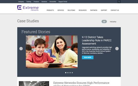 Screenshot of Case Studies Page extremenetworks.com - Case Study - captured Oct. 10, 2014
