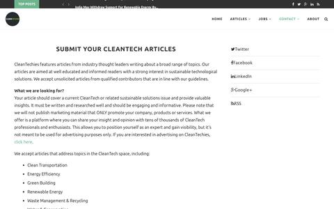 Submit Your CleanTech Articles – CleanTechies
