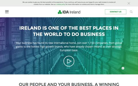 Screenshot of Home Page idaireland.com - Foreign Direct Investment - IDA Ireland - IDA Ireland Investment Promotion Agency - captured July 21, 2015
