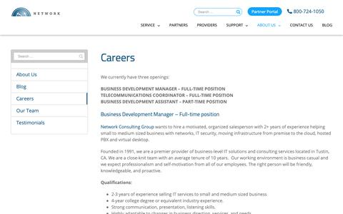 Screenshot of Jobs Page ncgtelecom.com - Careers – Network Consulting Group - captured Oct. 18, 2018