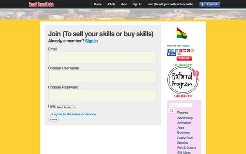 Screenshot of Signup Page smallsmalljobs.com - Join (To sell your skills or buy skills) - SmallSmallJobs.com - captured Oct. 30, 2014