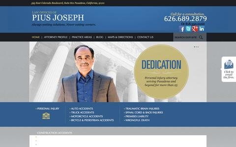 Screenshot of Home Page usa-law.org - Pasadena Personal Injury Attorneys | The Law Offices of Pius Joseph - captured Oct. 2, 2014