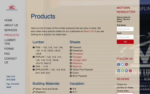 Screenshot of Products Page midtownlumbermart.com - Products - Midtown Lumber Mart - captured Feb. 13, 2016