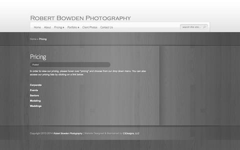 Screenshot of Pricing Page robertbowdenphoto.com - Pricing | Robert Bowden Photography - captured Oct. 9, 2014