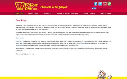Screenshot of About Page willowtreefarm.com - Famous Frozen Chicken Pie - Fresh Chicken Salad - Turkey Pies - Providence - Boston Area - Cape Cod - captured Oct. 7, 2014