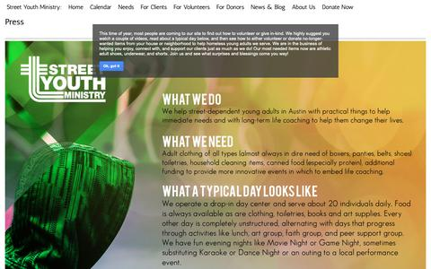 Screenshot of Press Page google.com - Press - Street Youth Ministry - captured Oct. 20, 2018