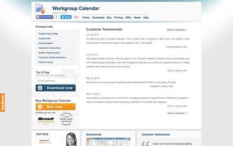 Screenshot of Testimonials Page workgroupcalendar.com - Workgroup Calendar product Home. Manage Microsoft Outlook Calendars. - captured June 4, 2016