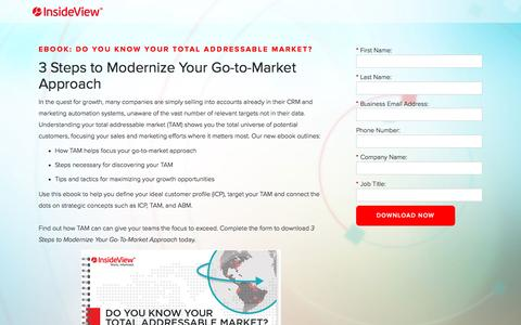 Screenshot of Landing Page insideview.com - 3 Steps to Modernize Your Go-to-Market Approach | Registration - captured May 10, 2017