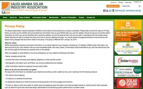 Screenshot of Privacy Page saudi-sia.com - Privacy Policy | Saudi Arabia Solar Industry Association - captured Oct. 26, 2014