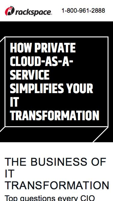 Screenshot of Landing Page  rackspace.com - IT Innovation Webinar – How Private Cloud-as-a-Service Simplifies IT Transformation