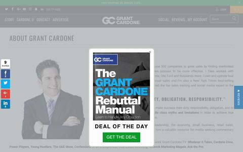 Screenshot of About Page grantcardone.com - Grant Cardone Entrepreneur and Online Sales Training Expert - Grant Cardone Training - captured May 22, 2017