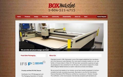 Screenshot of Home Page boxmaster.com - Home - Boxmaster - captured Jan. 21, 2015
