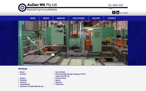 Screenshot of Site Map Page audan.com.au - Sitemap  AuDan Electrical Engineering - captured Oct. 27, 2014